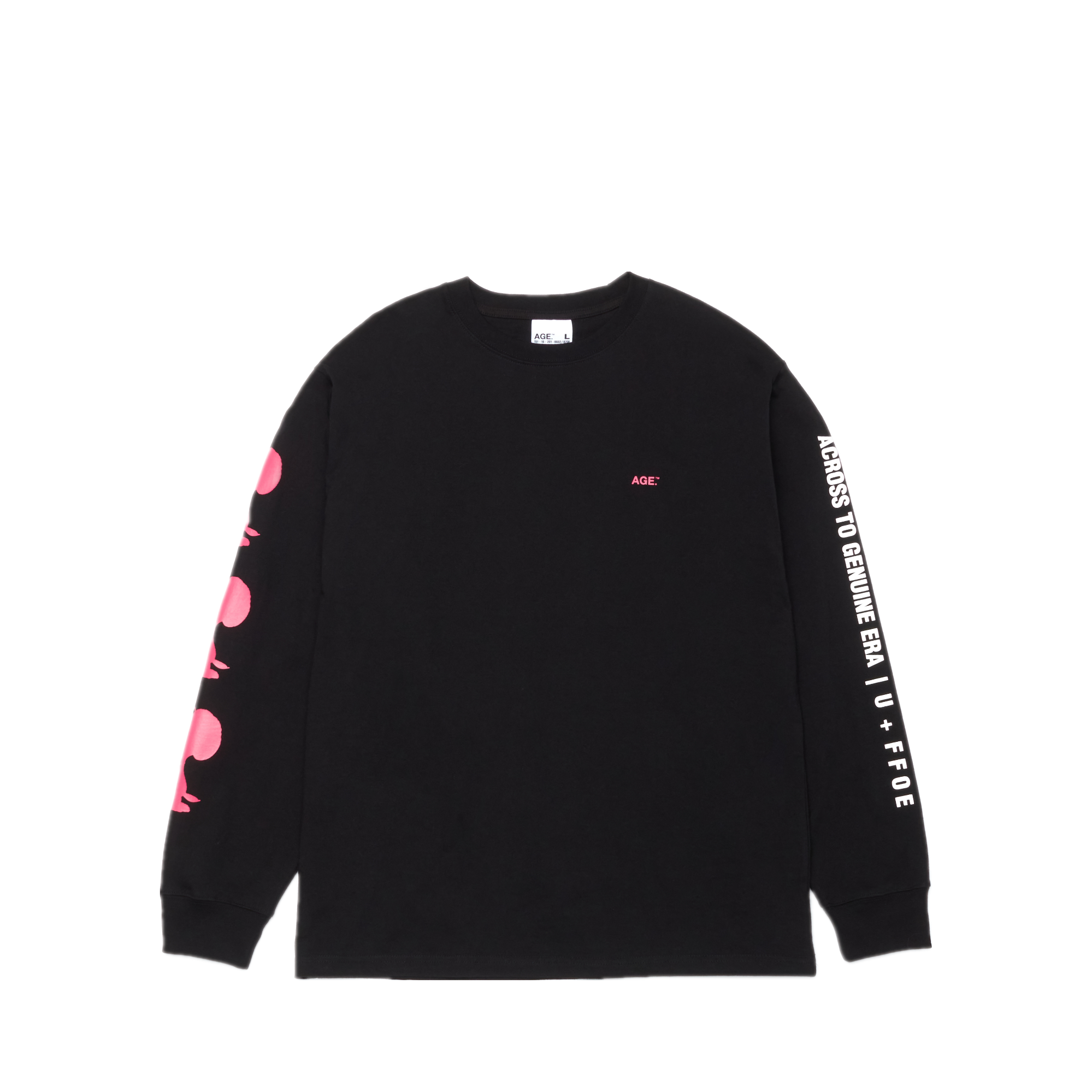 AGE X Snoopy Shadow Long SLV Tee BK/PK